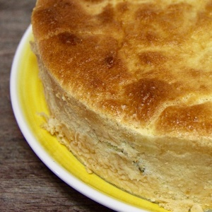 Pudin de espinacas, coliflor y langostinos